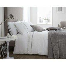 Bellissimo White Louisa Cotton Rich 200 Thread Count Duvet Cover Set