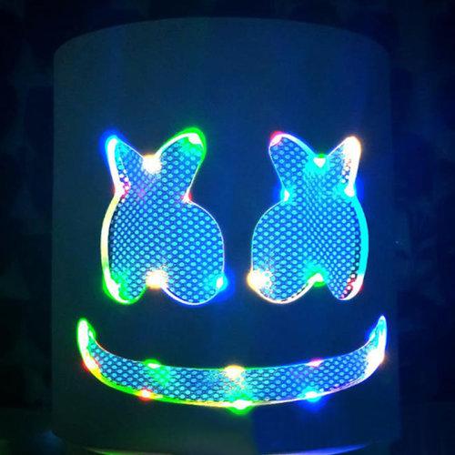 LED Marshmello DJ Mask Full Head Flash Helmet Halloween Cosplay Party Music Bar