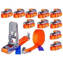 10 x 800 kg 6 m Ratchet tie down lashing straps with hooks Ratchet straps Tensioning belt 25 mm 2 pieces set