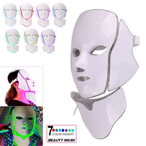 7 LED Photon Face Mask Neck Rejuvenation Therapy Wrinkles Anti aging