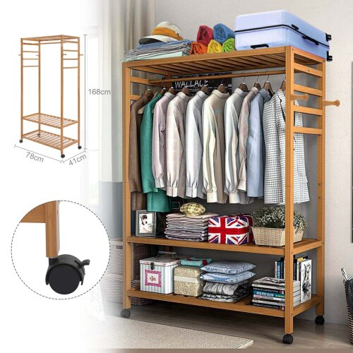 Wooden Clothes Rack Scarf Cap Hanging Garment Coat Rack Rolling Stand