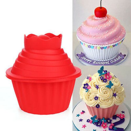 3PC BIG TOP GIANT CUPCAKE MOULD JUMBO SILICONE BIRTHDAY CUP CAKE BAKEWARE