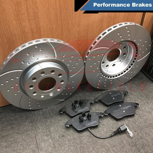 FOR VW JETTA 2.0 FRONT DIMPLED GROOVED KINETIX BRAKE 312mm DISCS PADS 170 BHP