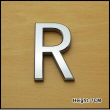 Self Adhesive 3D Chrome Letters Silver House Door Car 7cm CURVED - R