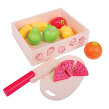Bigjigs Toys Crate of Wooden Cutting Fruit with Chopping Board and Knife - Play Food Toys