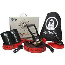 ZenMonkey Slacklines Kit with Training Line Tree Protectors Cloth Carry Bag and Instructions 60 Foot - Easy Setup for The Family Kids and Adults