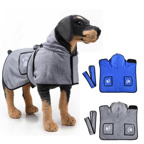 Pet Dog Hooded Bathrobe Towel Coat Puppy Quick-Drying Bath Towel Clothes XS-XL