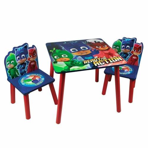 PJ Masks Themed Table Chairs Set Wooden Kids Activity Nursery Playroom Furniture
