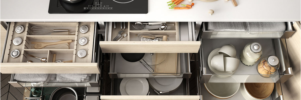 Kitchen drawers with lots of storage