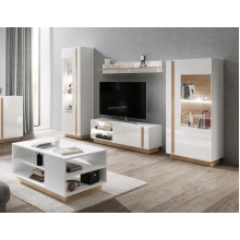 Arco White Gloss Living room Furniture Set with Coffee Table