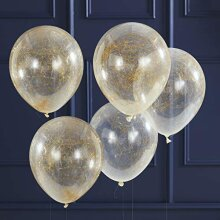 Ginger Ray Gold Angel Hair Confetti Party Balloons for Christmas New Year 5 Pack