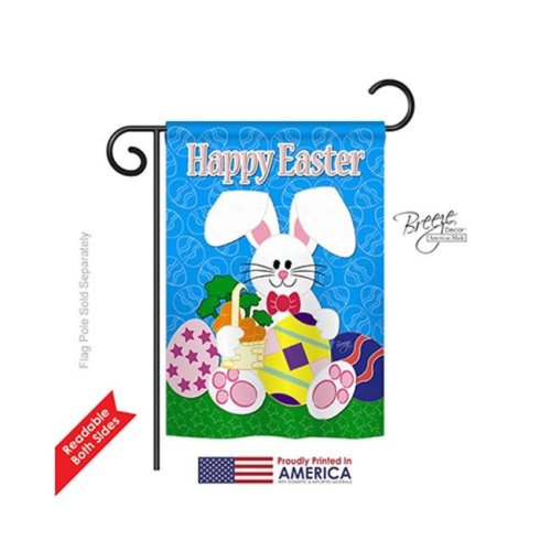 Breeze Decor 53029 Easter Happy Bunny 2-Sided Impression Garden Flag - 13 x 18.5 in.