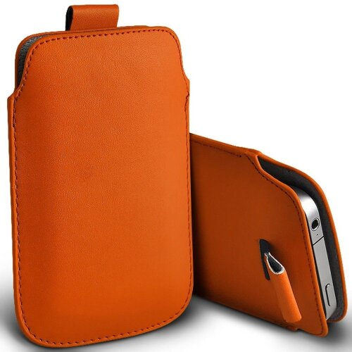 Alcatel 3088 Orange Pull Tab Sleeve Faux Leather Pouch Case Cover (XXL)