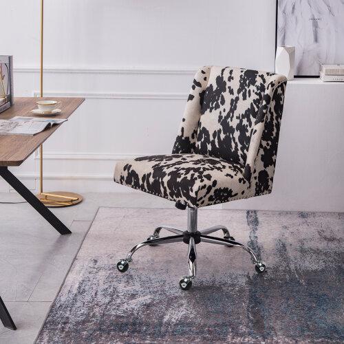 Adjustable Computer Desk Chair Cow Print Velvet Padded Office Study Swivel Chair