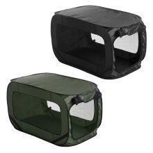 idooka Dog & Cat Carrier - Dog Crate Medium/Small for Dogs, Cats, Puppy Toys - Pet Travel Dog Bed Crate room for Dog Bowl - Plastic Dog Bed - Green/Bl