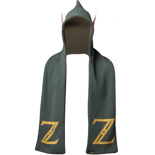 NINTENDO Legend of Zelda Logo Hooded Knitted Fashion Scarf with Ears, One Size, Green (KS723822ZEL)