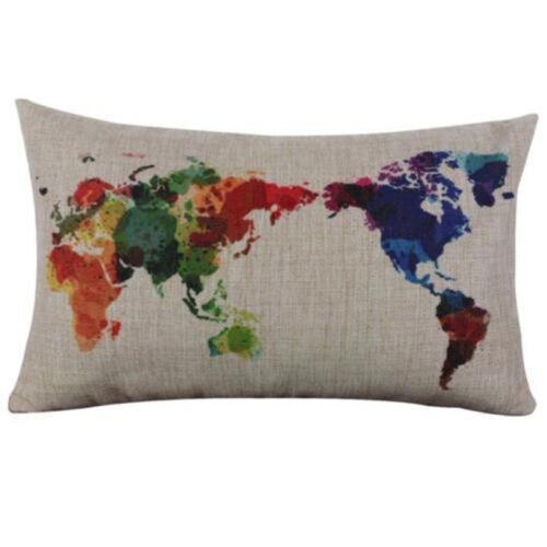 (Multicolor World Map) Rectangular Creative World Map Cotton Linen Cushion Cover Sofa Waist Pillow Case