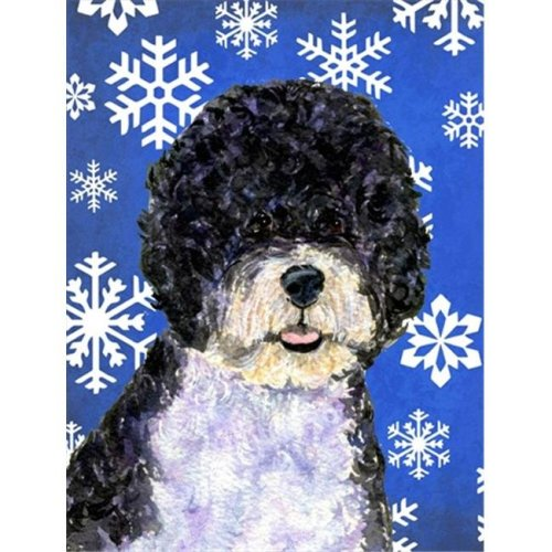 11 x 15 In. Portuguese Water Dog Winter Snowflakes Holiday Flag, Garden Size