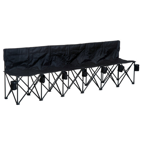 Outsunny Black 6-Seater Folding Bench with Cup Holders