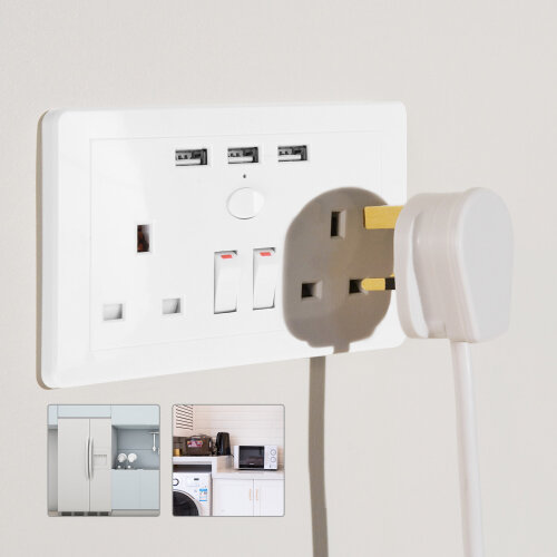 Double Wall Plug Socket 2 Gang 13A + 3 USB Charger Outlets Plate