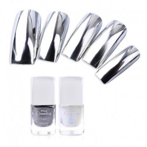 Misscheering Silver Mirror Nail Polish Base Coat Peel Off Metal Nail Varnish Metallic Manicure Nail Art Polish S520
