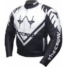 THE CROW Cowhide Leather Riders Racing Jacket Motorcycle Motorbike Biker Sports Coat New , Protective For Men, Black and White