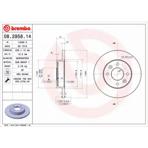 Front Pair (2x) of Brake Disc BREMBO 08.2958.14