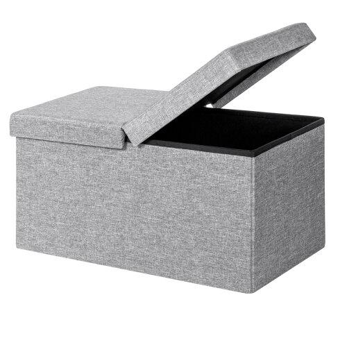 Folding Storage Ottoman Box Pouffe Seat Foot Stool Bench W/ Lift Top
