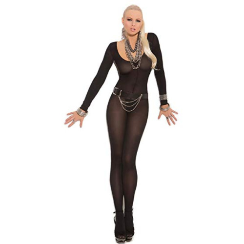 Black Bodystocking Crotchless Long Sleeve Sexy Open Crotch Lingerie Size 8 10 12 14