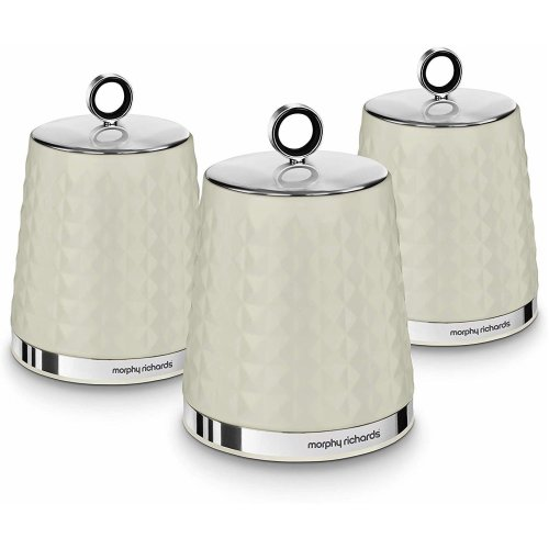 Morphy Richards 978055 Dimensions 3 Storage Canisters, Ivory Cream