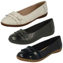 Ladies Clarks Smart Slip On Dolly Shoes Feya Island - D Fit