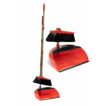 LONG HANDLED DUSTPAN AND BRUSH SET DUST PAN HANDLE CLEAN SOFT SWEEP BROOM RED