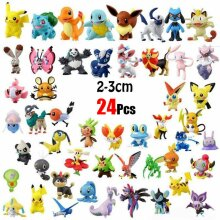 24pcs Pikachu Pokemon Mini Action Figure Toys