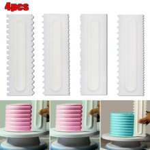 4PCS Shapes Cake Decorating Comb Icing Smoother Cake Scraper Pastry Baking DIY