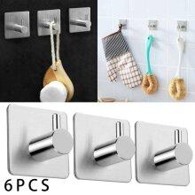6X Self Adhesive Hooks Sticky Wall Hanger Bathroom Robe Towel Metal Kitchen Hook