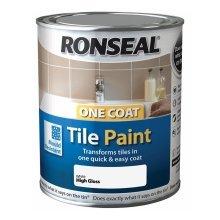 Ronseal One Coat Tile Paint 750ml - HIGH GLOSS  White