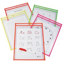 "Reusable Dry Erase Pockets 9""X12"" 10/Pkg-Assorted Neon Colors"