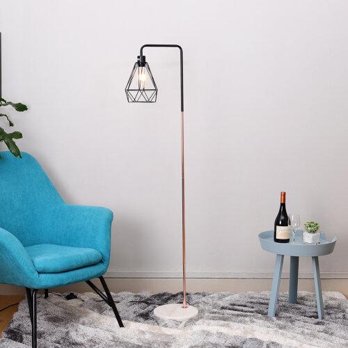 Retro Floor Lamp Marble Base Copper Metal Finish