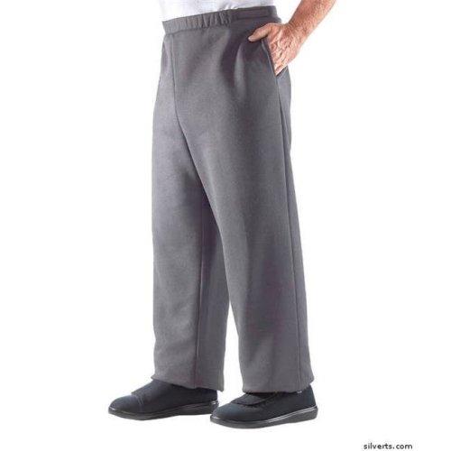 Silverts 506310506 Arthritis Mens Fleece Easy Access Pants & Clothing, Grey - 2XL