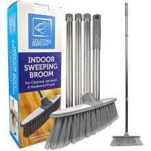 Soft Broom Indoor Sweeping Brush with Stainless Steel Handle Grey