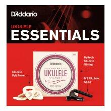D'Addario Ukulele Essentials Kit Includes EJ88C Concert Strings Capo Felt Picks PW-UKEB-VM