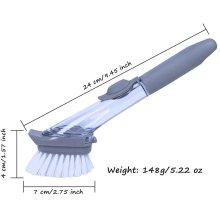 Palm Scrub Soap Dispensing Washing Up Dish Brush Dispensing 2 Sponge