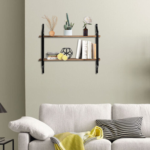 2 Tier Industrial Floating Wall Shelves