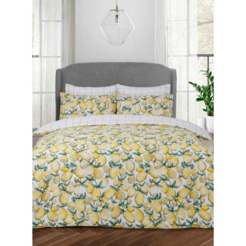 Yellow Lemons Reversable Check Duvet Set Single Double King Size