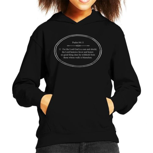 (X-Small (3-4 yrs), Black) Religious Quotes The Lord God Is A Sun And Shield Kid's Hooded Sweatshirt