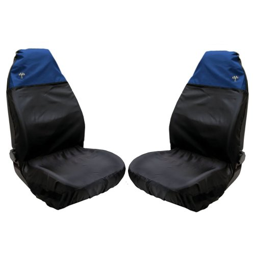 XtremeAuto Waterproof FRONT Seat Covers with Chequered Flag Logo (Blue)