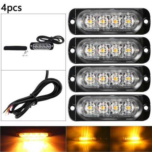 4x4 LED Amber Recovery Strobe Flashing Grille Light bar Truck Beacon Lamp 12/24V
