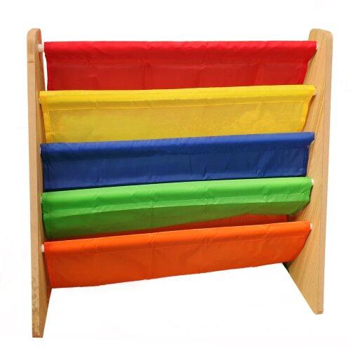 Children's Bookshelf Organiser 4 Rack Rainbow Colour Kids Book Rack