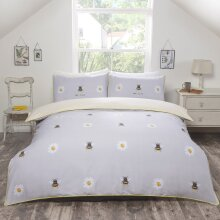 Rapport Bee Kind Grey Reversible Duvet Cover Set With Piped Edge Finish