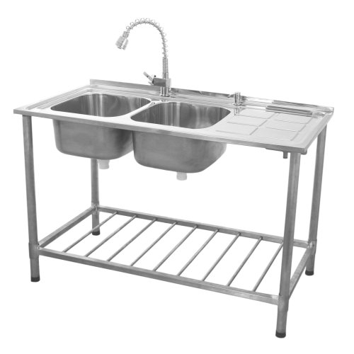 (Right Hand Drainer) KuKoo Catering Sink Stainless Steel Double Bowl